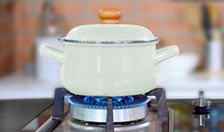 Cooking pot on a gas stove.