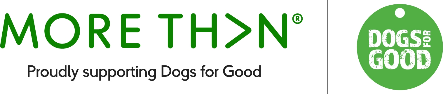 MORE THAN and Dogs for Good logos in a banner for the 2021 partnership.